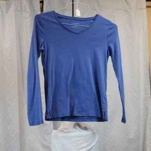 Talbots Blue Long Sleeve V Neck T Shirt